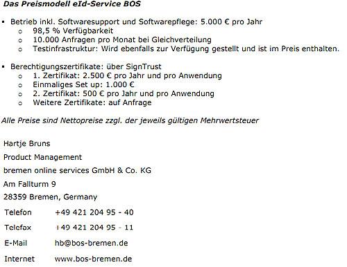 Preismodelle von Governikus ehemals Bremen online services GmbH (BOS) Stand Dezember 2010 (Quelle: http://www.ccepa.de)