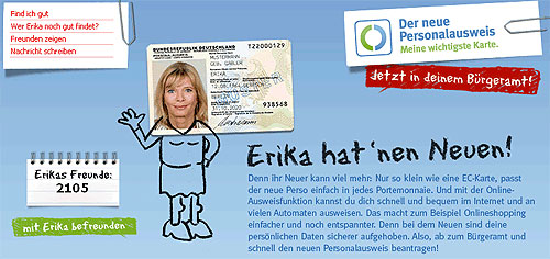 Neuer Personalausweis (nPA) Erika Mustermann Freunde bei StudiVZ