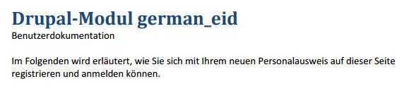 Benutzerdokumentation Drupal Modul german eID (Stand: 02.03.2011)