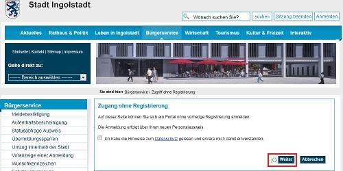 eID-Funktion beim Buergerservice Ingolstadt