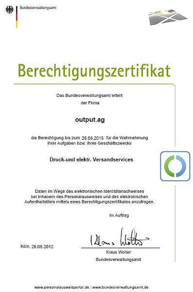 Berechtigungszertifikat :::output.ag