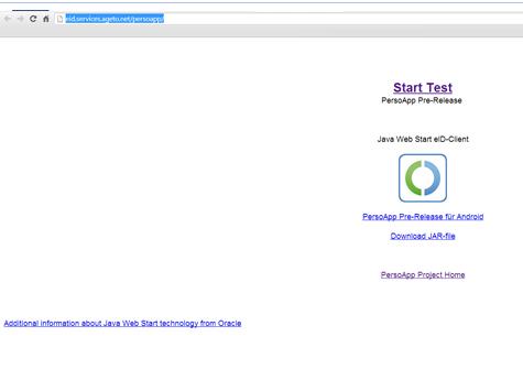 Screenshot des eID-Testdienst, eID-Demodienst bzw. Personalausweis-Testdienst