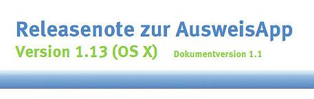 Releasenote zur AusweisApp Version 1.13 (OS X)