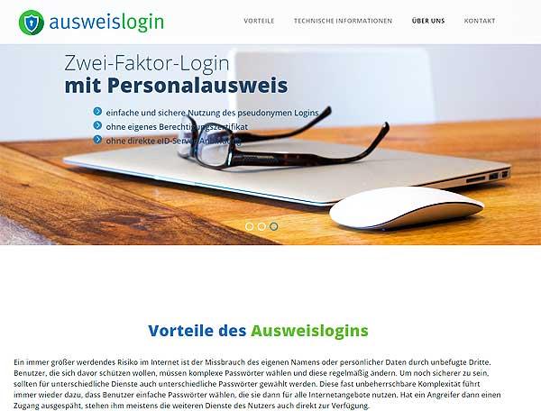 ausweislogin.de Login per Pseudonym-Funktion des Personalausweises