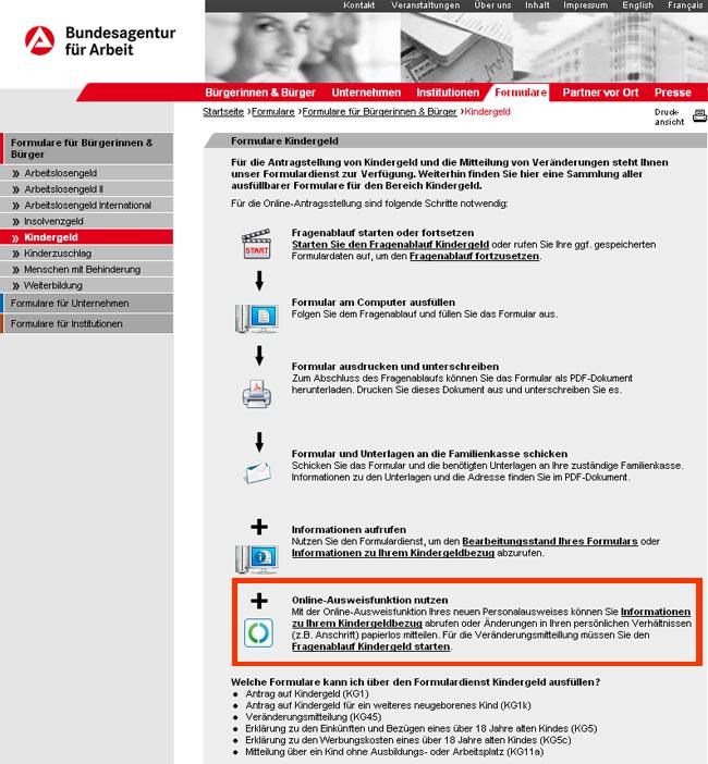 Die eID-Funktion im Formulardienst Kindergeld Online der Bundesagentur für Arbeit