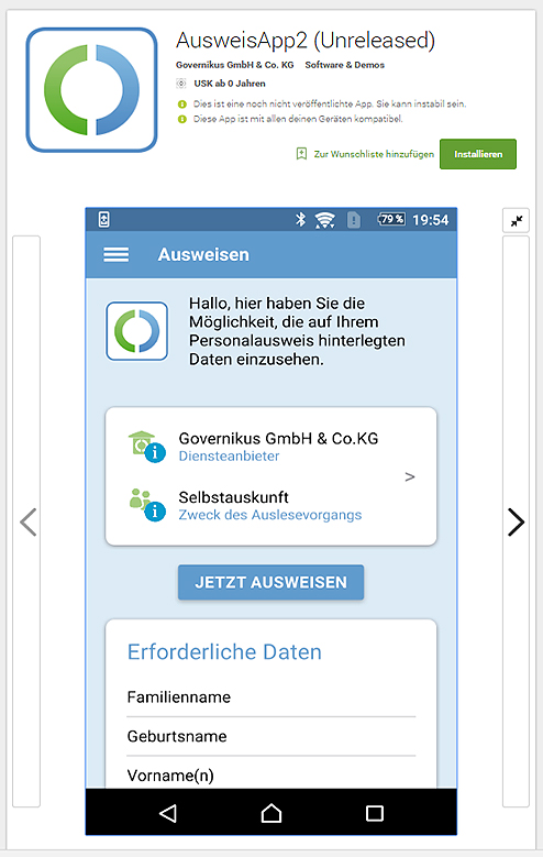 eID-Funktion mobil nutzen per Smartphone (Screenshoot aus dem Google Play Store / play.google.com)