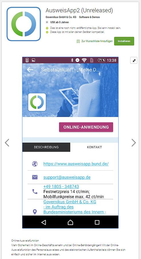 Online-Ausweisfunktion mobil nutzen per Smartphone (Screenshoot aus dem Google Play Store / play.google.com)