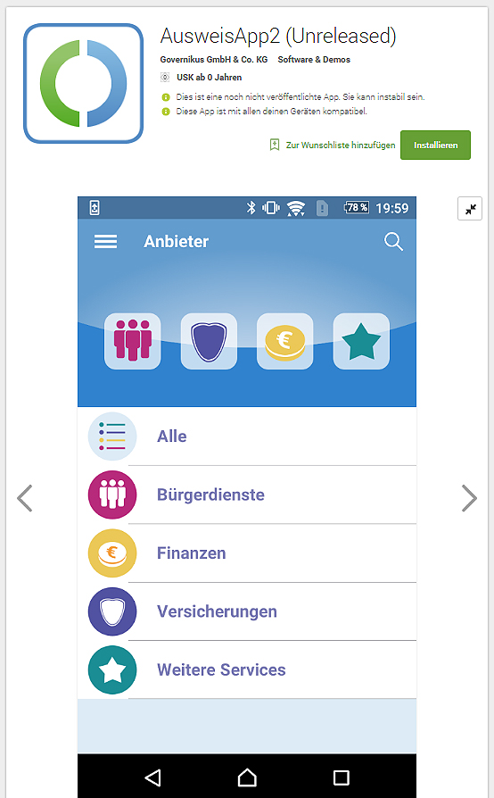 Online-Ausweisfunktion (eID-Funktion) mobil nutzen per Smartphone (Screenshoot aus dem Google Play Store / play.google.com)