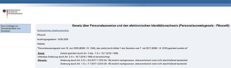 Personalausweisgesetz (PAuswG)