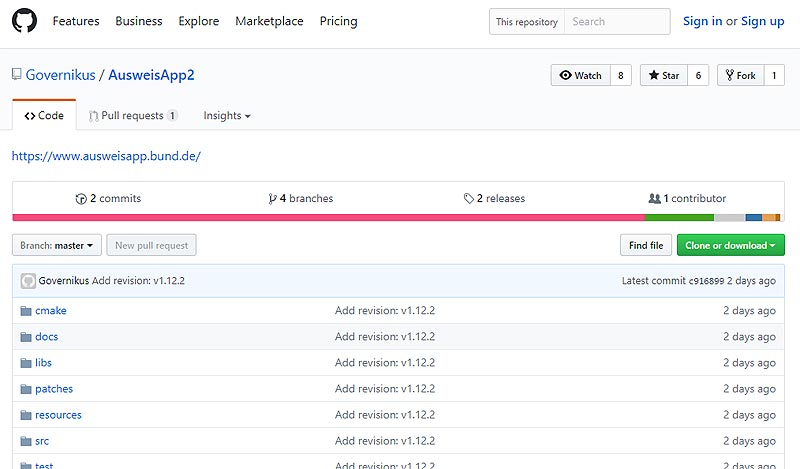 Ausweisapp2 auf Github-Plattform