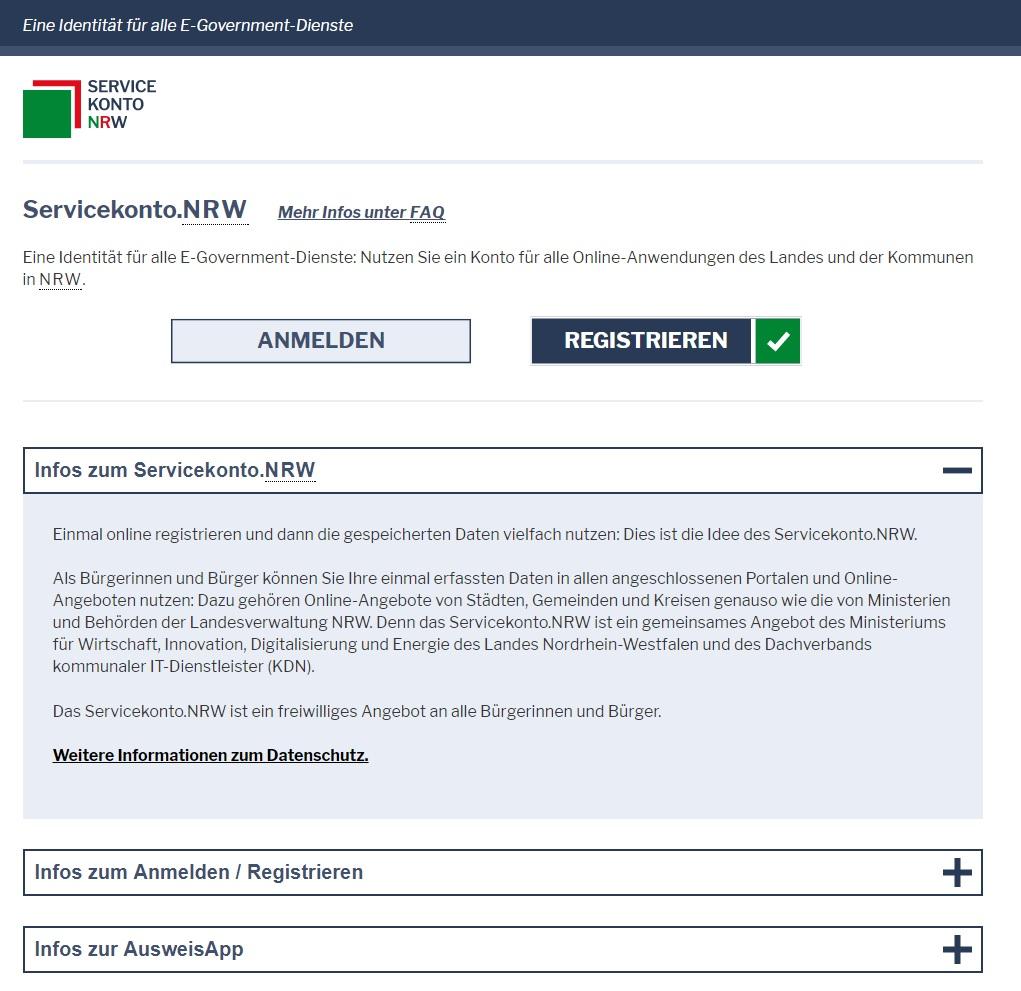 Startseite des Servicekonto.NRW mit eIDAS-kompatiblen Formularserver