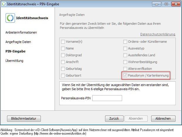 Screenshoot der eID-Client-Software(AusweisApp) auf dem Nutzerrechner mit ausgewähltem Attribut Pseudonym rot eingerahmt Quelle: eigene Dartsellung (http://www.die-pseudonym-funktion.de)